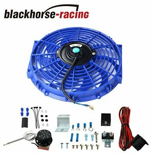 12 slim Push Pull 12v Electric Radiator Cooling Fan probe Thermostat Switch Blue