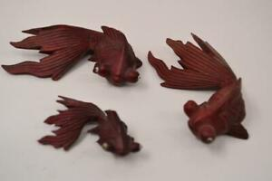Three Vintage Wooden Carved Japanese Fantail Koi Goldfish R 01 Of 03