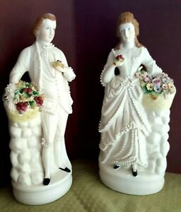Antique Bisque Young Couple Pair Figurines Wedding Anniversary