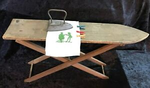 Vtg Miniature Folding Wooden Ironing Board Iron Cloth W Clothespins