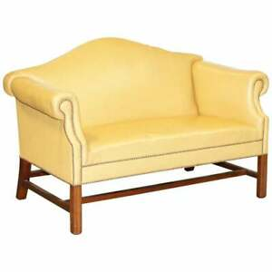 138cm Wide Lovely Restored Mustard Brown Leather Victorian Small Hump Back Sofa