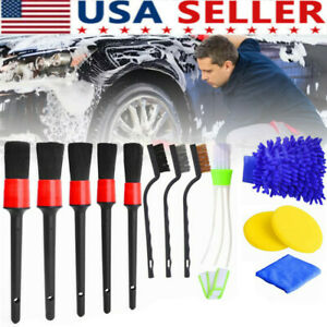 12pcs Car Detailing Brush Kit Boar Hair Vehicle Auto Wheel Clean Brush Set