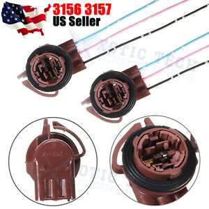 2x 3156 3 Wire Harness Pre Wired Sockets For Led Turn Signal Light Brake Light