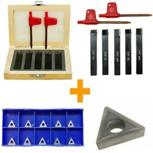 3 8 Indexable Carbide Insert Lathe Turning Tool Bit 10 Pc Tips Combo 5 Pc