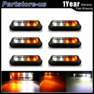 6pcs 4 Led Car Truck Flash Strobe Light Kit Amber white Waterproof Super Bright