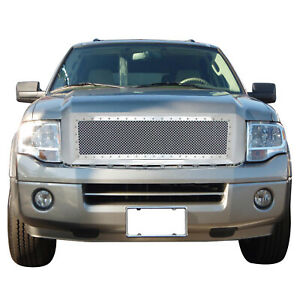 Fit 07 14 Ford Expedition Chrome Steel Mesh Rivet Front Hood Shell