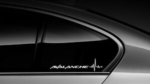 Avalanche Heart Beat Pulse Sticker Decal Chevy Chevrolet Truck Window Pair 001