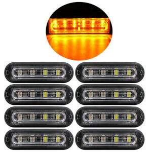 8pcs X Flash Strobe Light Bar Kit Amber 24w Super Bright Led Waterproof Car