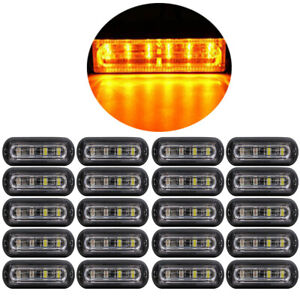 20pcs Super Bright 6 Led Waterproof Car Truck Flash Strobe Light Bar Kit Amber