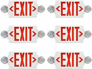 6 Pack Led Exit Sign Emergency Light Hi Output Red Or Green Compact Combo Ul