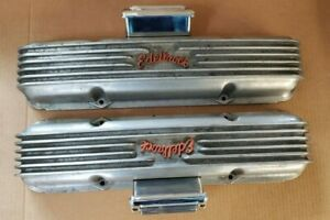 Vintage Edelbrock Script Small Block Chevy Finned Valve Covers W Breathers