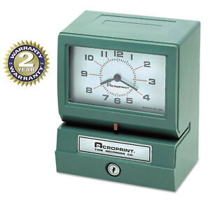 Acroprint Model 150 Analog Automatic Print Time Clock With Month date 0 23 Hours