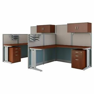 Bush Business Furniture Office In An Hour 2 Person L Shaped Cubicle Workstations