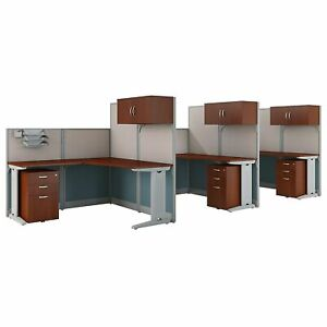 Bush Business Furniture Office In An Hour 3 Person L Shaped Cubicle Workstations