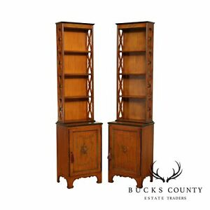 Vintage 1930 S Adams Style Paint Decorated Satin Wood Narrow Bookcases