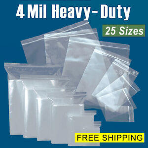 Assorted Clear 4 mil Zip Lock Bags Heavy duty Resealable Plastic Zipper Baggies