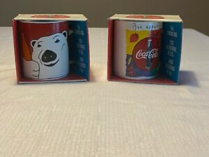 2 Vintage 1996-97 Coca Cola Mugs By Gibson in original boxes