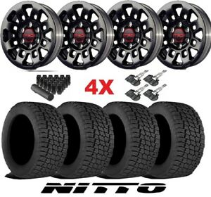 Trd Pro Black Wheels Rims Tires 285 70 17 At Nitto Terra Grappler Package