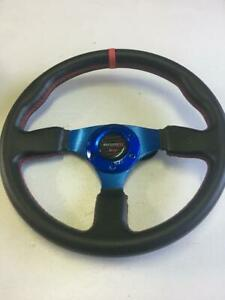 Car Racing Steering Wheel Include Nismo Horn Button 350mm Blue