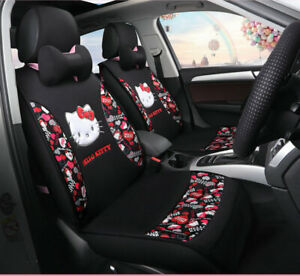 Hello Kitty Cartoon Car Seat Covers Set Universal Car Interior Black Color New