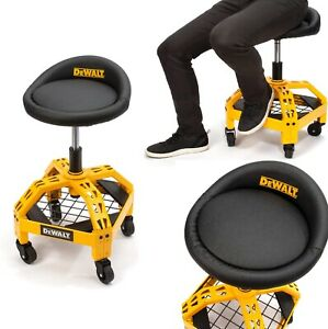 Dewalt Rolling Garage Stool 360 degree Swivel Seat Durable Steelframe Adjustable