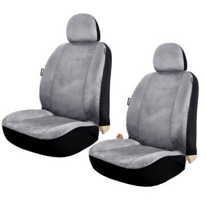 2pcs Velour Low Back One Car Seat Cover Universal For Truck Suv Front Seats Grey