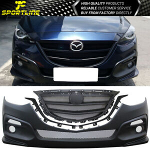 Fits 14 16 Mazda 3 4dr Sedan Ks Style Black Front Bumper Conversion With Grille