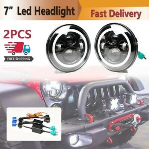 2x 7 Led Headlights Halo Angle Eyes Hi low Beam Lamps For Jeep Wrangler Truck