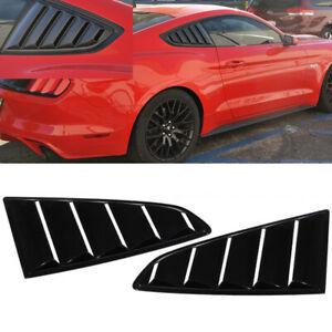 For 2015 2020 Ford Mustang Gloss Black Finish Rear Window Quarter Louver Covers