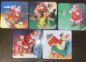 Coca Cola Coasters Set of 5 Holiday Christmas  Vintage Santa Cork Back Cardboard