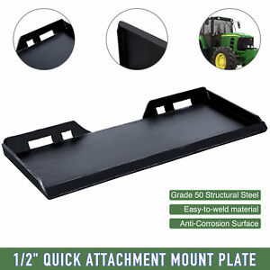 1 2 Thick Skid Steer Quick Tach Mount Plate Adapter Attachment Heavy duty