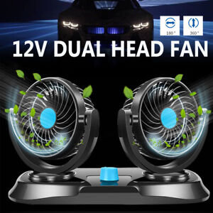 12v Dual Head 360 Rotation Cooling Fan Car Air Conditioner Ventilation 2 Speed