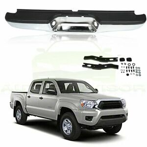 For 1995 2004 Toyota Tacoma Chrome Black Complete Rear Steel Bumper Assembly