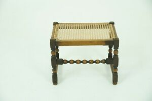 Antique Foot Stool Vintage Beechwood Caned Top Bench Scotland 1930 B986