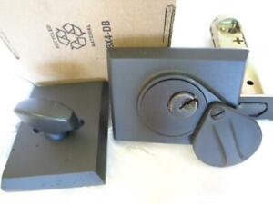 Emtek Assa Abloy 8465fb Square Deadbolt Lockset 2 1 4 Backset Flat Black Bronze
