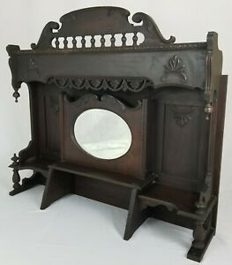 Antique Salvaged Fireplace Mantle Beveled Mirror Victorian Piano Top Walnut