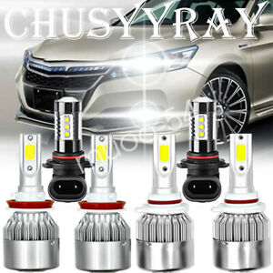 For Honda Accord 2013 2014 2015 6x Led Headlight High Low Fog Light Kit 6000k