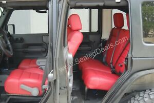 Jeep Wrangler 4 door Custom Red Factory Style Leather Seat Covers Upgrade Set