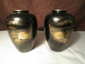 Two 2 Carved Bronze Vase Decor Mount Fuji Meiji Period Gilt Vase Japan Signed