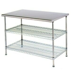 Eagle Group T3060ebw Adjustable Work Table 30 X 60 X 34 Stainless Steel Work Top
