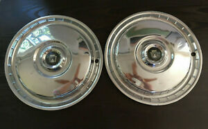 2 Vintage 1955 56 Ford Fairlane Thunderbird Hubcaps Good Condition