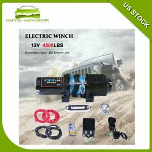 12v Winch 4500lbs Electric Cable Winch Synthetic Rope Towing 4wd Of