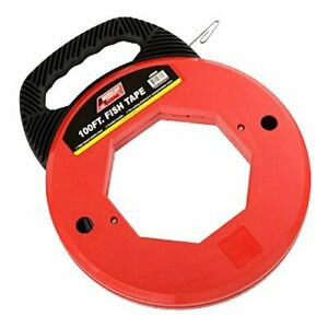 Premium 100 Ft Fish Tape Electrican Electric Reel Pull Wires Sturdy Cable