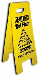 Wet Floor Caution Sign 2 sided Folded Out Locking Style Commercial Safety