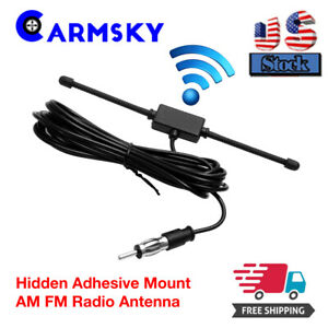 1pcs Black Universal Car Boat Stereo Am Fm Dipole Antenna Hidden Adhesive Mount