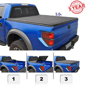 5 Ft For 05 16 Frontier 09 12 Equator Truck Bed Soft Tri Fold Cover With Track
