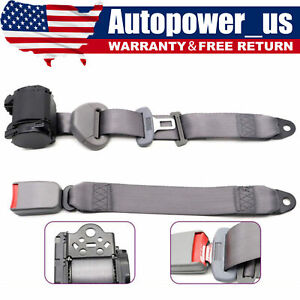 3 Point Safety Seat Belt Straps Heavy Duty Car Truck Adjustable Retractable Gray