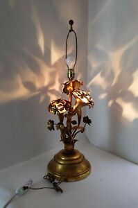 Vintage Italian Regency Gold Gilt Tole Metal Flower 4 Light Table Lamp Mcm