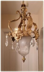 Antique French Bronze Chandelier Pendant Goddesses Heads Crystal Shade