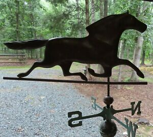 Old Copper Horse Weathervane With Directional Arrows